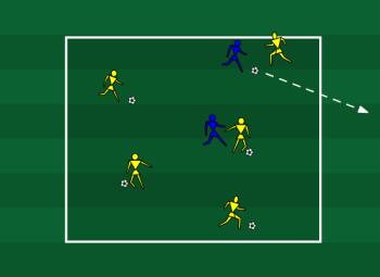 تمرین دفاع و دریبلینگ مدرسه فوتبال
