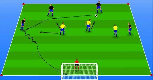 تمرینات حمله و دفاع گروهی در فوتبال
